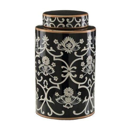 John Richard Floral Black & White Jar - Image 1 of 4