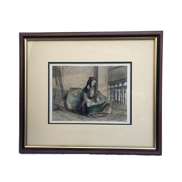 Orientalist Print of a Seating Female Framed For Sale In New York - Image 6 of 6