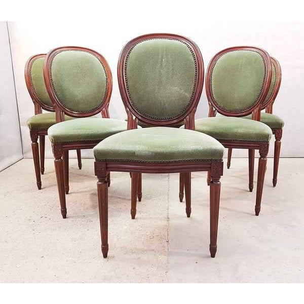 French Vintage Louis XVI Style Green Velvet Medallion Back Dining Chairs - Set of 6 For Sale - Image 11 of 13