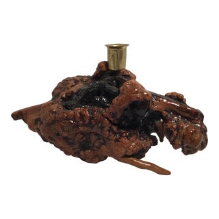 Mid Century Burl Wood Candle Holder For Sale