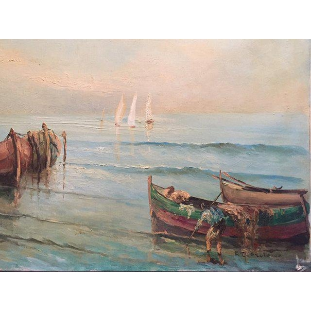 Traditional 1960s Vintage Boats at Sea Amalfi Coast Oil on Canvas Painting For Sale - Image 3 of 11
