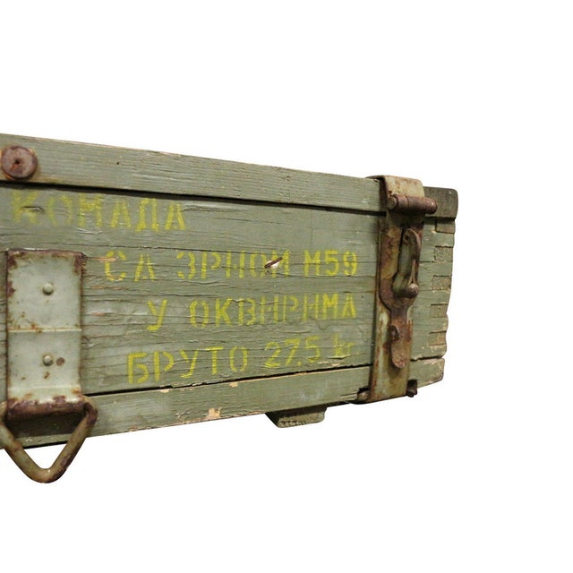 1950s Military Crate Wooden & Metal Ammo Box - Image 4 of 5