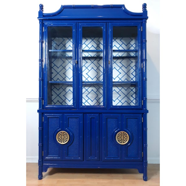 Faux Bamboo Navy Blue Lacquered China Cabinet For Sale - Image 13 of 13