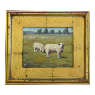 Ron Deak Charming Grazing Sheep Landscape Oil Painting For Sale
