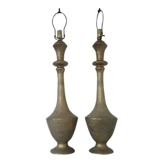 Mid-Century Etched Brass Table Lamps - a Pair For Sale