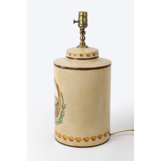 Hand Painted Hotel Landscape Design Tea Caddy Lamp For Sale - Image 4 of 10