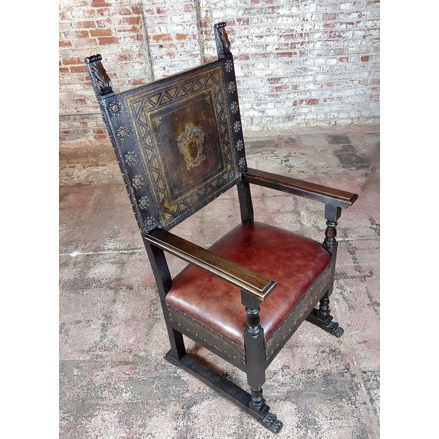 """Spanish Renaissance Carved & Embossed Leather Side Chair size 25 x 21 x 52"""" seat 19"""" A beautiful piece that will add to..."""