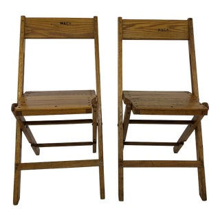 Vintage American Craftsman Wood Folding Chairs - a Pair For Sale