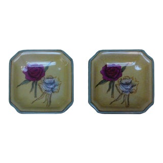 Quality Asian Artist Hand Painted Porcelain Square Display Dishes - a Pair