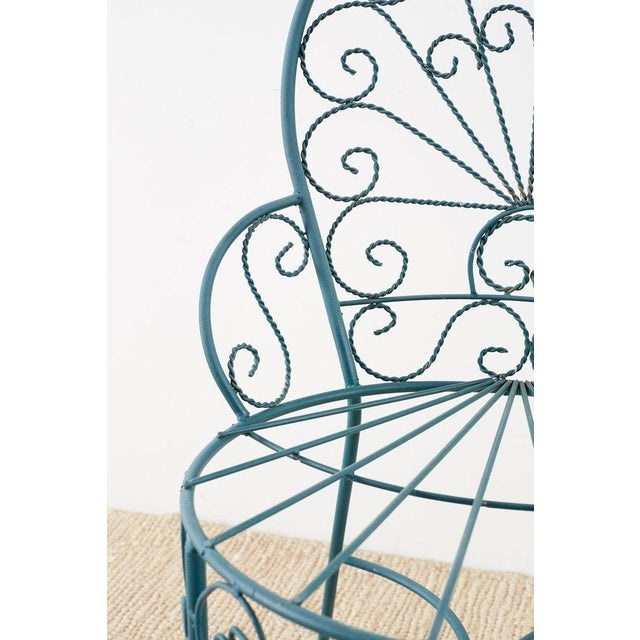 Mid 20th Century Pair of Salterini Style Iron Garden Patio Chairs For Sale - Image 5 of 13