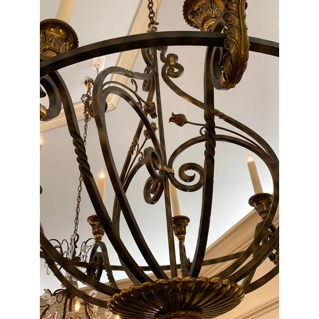 Late 20th Century Neoclassical Wrought Iron & Brass Orb 8-Light Chandelier, by Maitland Smith For Sale - Image 5 of 7