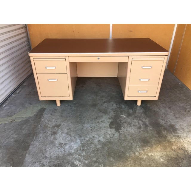 Brown Classic Vintage Tanker Desk with Post Pole Legs For Sale - Image 8 of 8