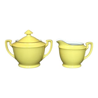 Vintage Noritake Yellow China Creamer & Sugar Bowl - a Pair For Sale