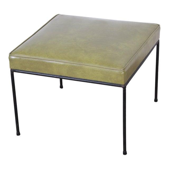 Paul McCobb Green Vinyl Upholstered Iron Stool or Ottoman For Sale