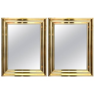 Pair of Brass Mirrors. France, 1970s For Sale