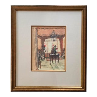 Framed Interior Room Scene Watercolor Painting For Sale