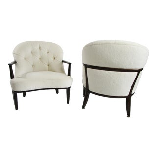 1950s Edward Wormley for Dunbar Janus Chairs Upholstered in Lush Ralph Lauren Fabric - a Pair