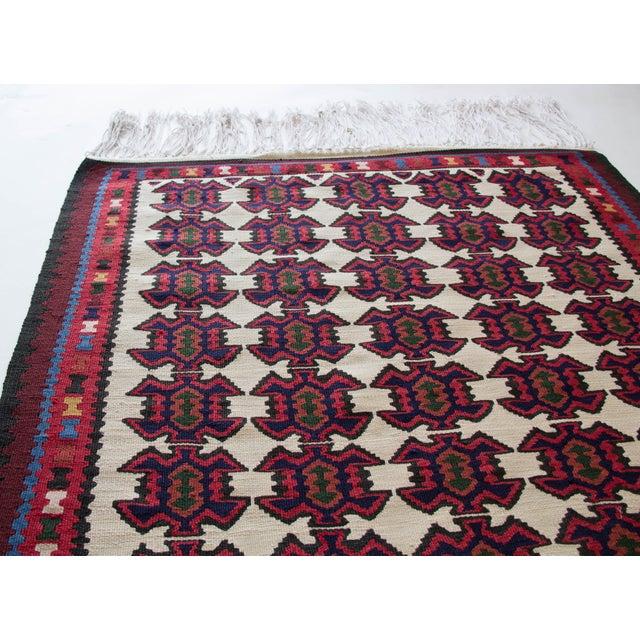 Islamic Turkish Jewel Toned Kilim Rug With Long Tassel For Sale - Image 3 of 6