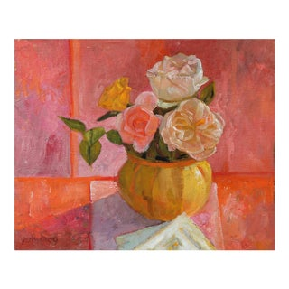 Bright Still Life With Pink Flowers, Oil Painting, 20th Century