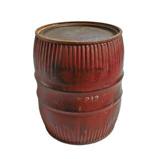 Vintage Iron Barrel Side Table For Sale