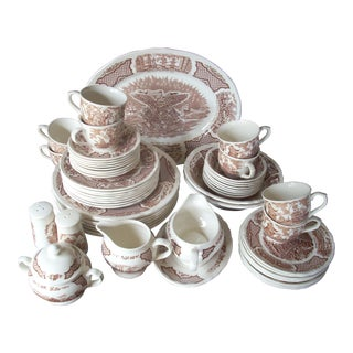 1970s Vintage Historical Scenes China Set- 55 Pieces For Sale