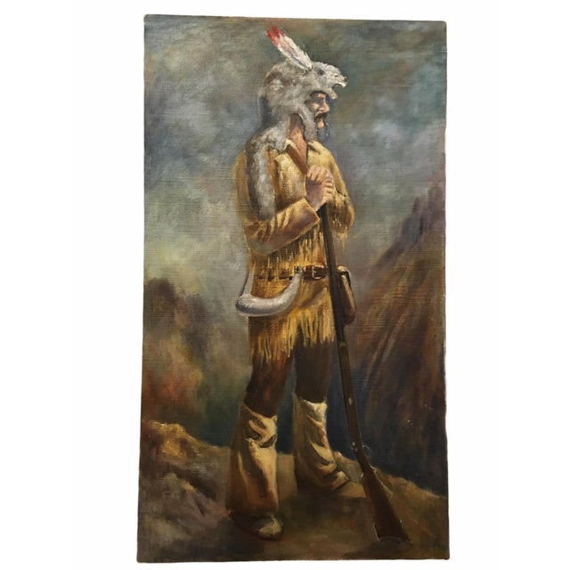 Mid 20th Century Portrait of a Frontiersman Oil Painting For Sale In San Francisco - Image 6 of 6