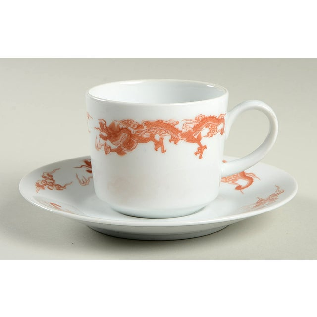 Chinoiserie Fukagawa for Tiffany Dragon Red Cup & Saucer Set/6 For Sale - Image 3 of 11