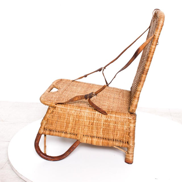 Wicker Mid Century Modern Rattan Leather Sculptural Portable Traveling Chair For Sale - Image 7 of 11