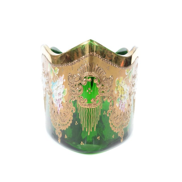 Moser Bohemian Emerald Green Glass Centerpiece - Image 8 of 9