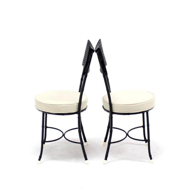 Mid-Century Modern Cast Aluminum Faux Bamboo and Cane Round Seat Chairs - Set of 4 For Sale - Image 3 of 11