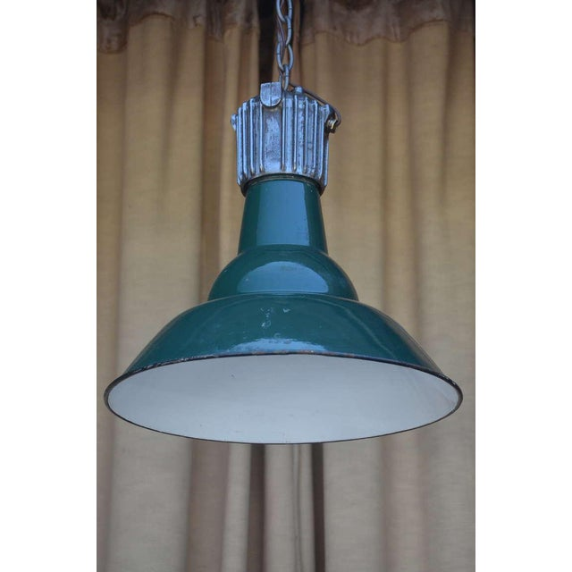 Industrial Dark Green French Industrial Workshop Hanging Light For Sale - Image 3 of 6