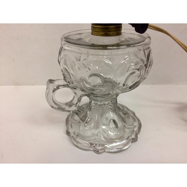 Shabby Chic Pressed Glass Egg Pattern Footed Oil Lamp For Sale - Image 3 of 7
