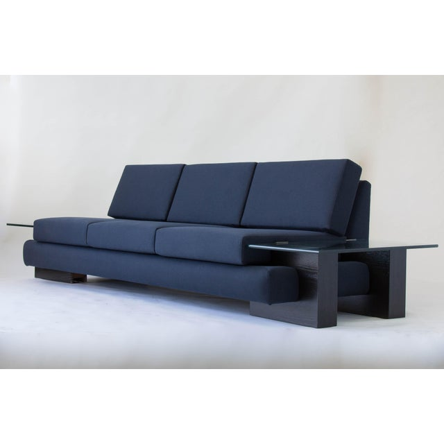 Mid-Century Modern American-Made Sofa with Glass End Tables For Sale - Image 3 of 3