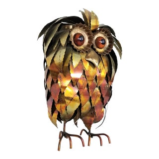 Extra-Large Vintage 1960s Curtis Jere Style Brutalist Metal Owl Bird Sculpture - Mid Century Modern MCM Boho Chic Tropical Coastal Animal Abstract For Sale