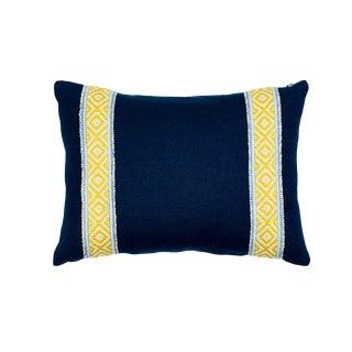 Schumacher Larson Tape & Piet Performance Linen Lumbar Pillow in Yellow & Blue For Sale