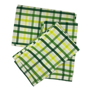 """Top Sheet Flat 100% Cotton Handloom Hand Woven White Green Yellow Citrus Madras Checks 80 X 60"""" Inch Pillow Covers New For Sale"""