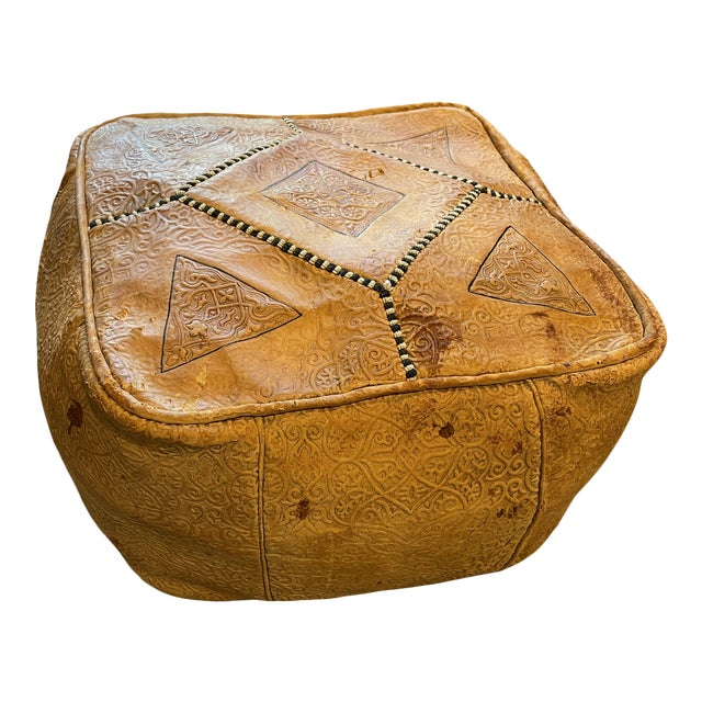 Ornate Turkish Imprinted Leather Poof For Sale