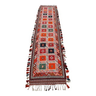 "Fine Rare Colorful Persian Gashghai Tribal Runner 4'3""x20'9"" For Sale"