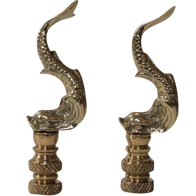 Asian Brass Dolphin Finials - a Pair - Image 1 of 2