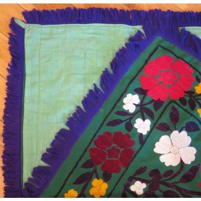 Dark Green Vintage Suzani Embroidery For Sale - Image 4 of 4