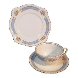 1910s Johnson Bros. Belvedere Flower Baskets & Gold Motif Plate Cup Saucer - Set of 3 For Sale