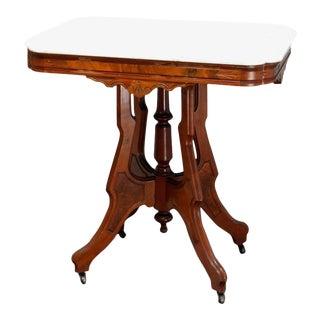Antique Victorian Eastlake Carved Walnut & Beveled Marble Side Table For Sale