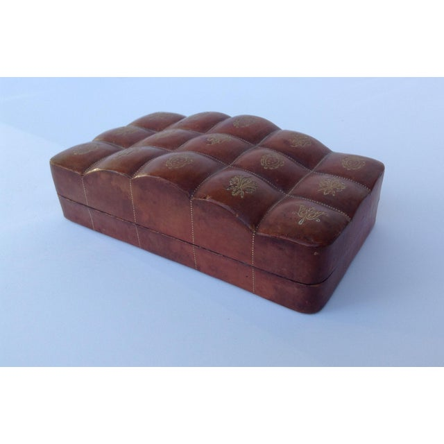Vintage; c. 1910-30s, Italian Leather, hand-tooled, embossed lidded keepsake box, in a sectioned dome or quilted top...