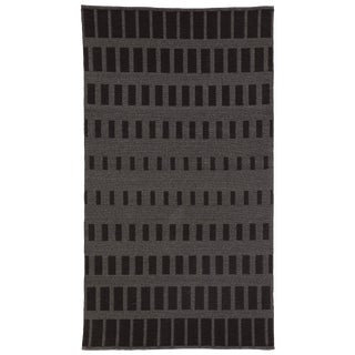 Nikki Chu by Jaipur Living Vaise Indoor/ Outdoor Geometric Gray/ Black Area Rug - 7′6″ × 9′6″ For Sale