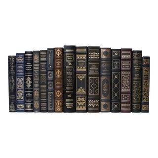 Vintage Deep Leather Mark Twain, Balzac, Hemingway Classics Books - Set of 15 For Sale