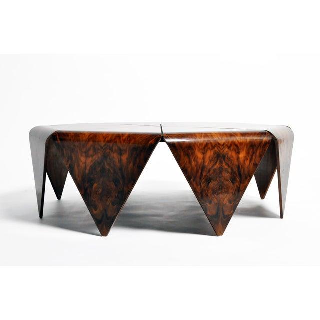 Impressive octagonal coffee table from Hungary made from walnut veneer, circa 1960s.