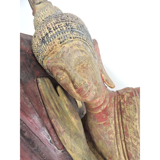Large Antique Reclining U-Thong Gilt Wood Buddha on Red Plinth/Base For Sale - Image 4 of 10