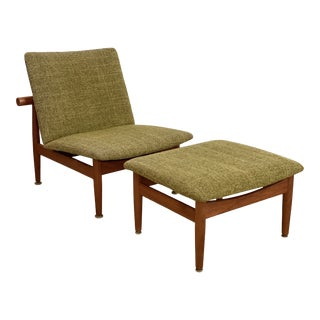 Finn Juhl Model 137 Teak Chair and Ottoman For Sale