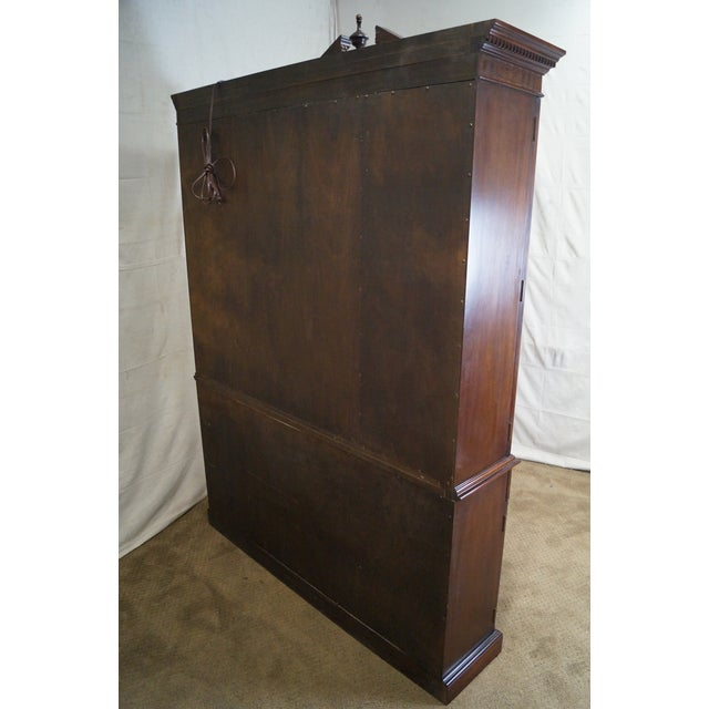 Councill Furniture Councill Craftsman Inlaid Flame Mahogany Breakfront Bookcase For Sale - Image 4 of 10