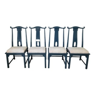 1970s Vintage Raymond Sobota for Century Furniture Chin Hua Asian Chinoiserie Dining Chairs- Set of 4 For Sale